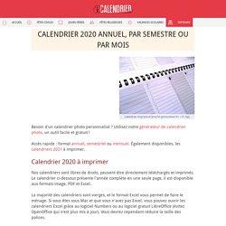 Calendrier 2020 à imprimer PDF et Excel - iCalendrier