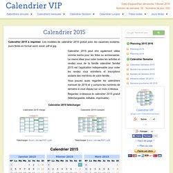 Calendrier 2015 à imprimer gratuit en PDF et Excel
