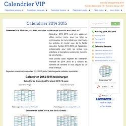 Calendrier 2014 2015 à imprimer gratuit
