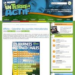 Affiche : Calendrier des journées internationales