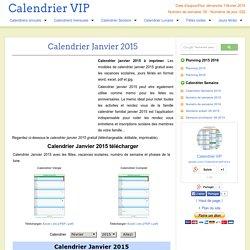 Calendrier Janvier 2015 à imprimer gratuit en PDF et Excel