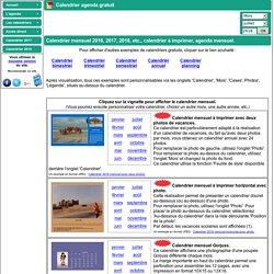 Calendrier agenda - exemples de calendriers mensuels