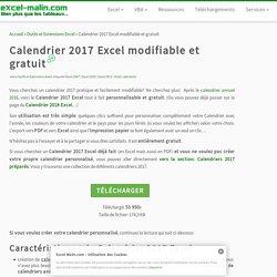 Calendrier 2017 Excel modifiable et gratuit
