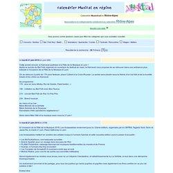 Calendrier Musictrad en region Rhône-Alpes