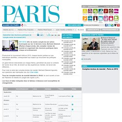 Calendrier des réunions publiques de compte rendu de mandat 2012