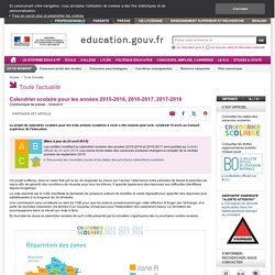 Calendrier scolaire 2015-2016, 2016-2017, 2017-2018