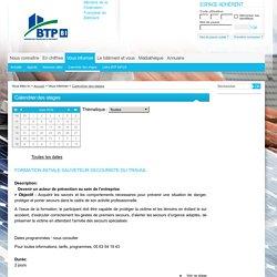 Calendrier des stages : FBTP Tarn
