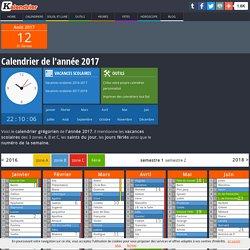 Calendrier de l'année 2017 avec vacances et jours fériées