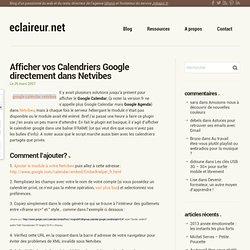 Netvibes - Afficher Calendriers Google dans Netvibes