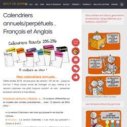 Calendriers annuels/perpétuels . Français et Anglais