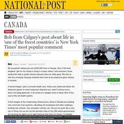 Bob from Calgary's post about life in 'one of the freest countries' is New York Times' most popular comment