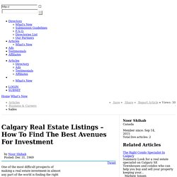 Calgary Real Estate Listings – How To Find The Best Avenues For Investment