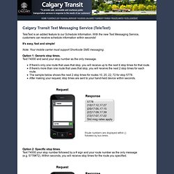 Calgary Transit Text Messaging Service
