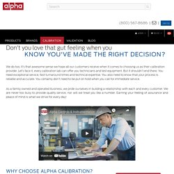 Calibration - Alpha Controls & Instrumentation Inc.