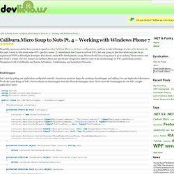 Caliburn.Micro Soup to Nuts Pt. 4 – Working with Windows Phone 7