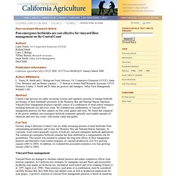 California Agriculture 62(1):19-23. DOI: 10.3733/ca.v062n01p19. January-March 2008. Post-emergence herbicides are cost effective
