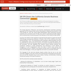 SB 579 Clears the California Senate Business Committee