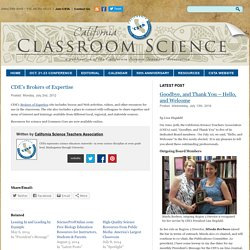California Classroom Science » CDE's Brokers of Expertise