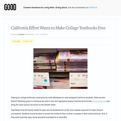 California Effort Wants to Make College Textbooks Free - Education