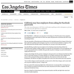 California may ban employers from asking for Facebook passwords
