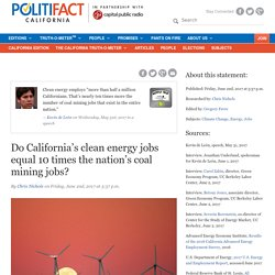 Do California's clean energy jobs equal 10 times the nation's coal mining jobs?