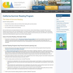 California Library Association: Re:SRP:About:The Value of SRP
