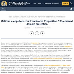 California appellate court vindicates Proposition 13's eminent domain protection