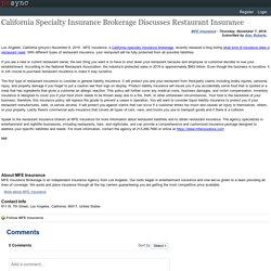 California Specialty Insurance Brokerage Discusses Restaurant Insurance