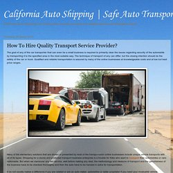 How To Hire Quality Transport Service Provider?