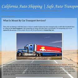 What Is Meant By Car Transport Services?