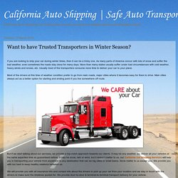 Want to have Trusted Transporters in Winter Season?