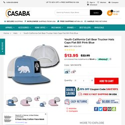 Youth California Cali Bear Trucker Hats Caps Flat Bill Pink Blue – Casaba Shop