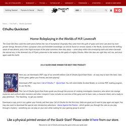 Call of Cthulhu - Quickstart Rules