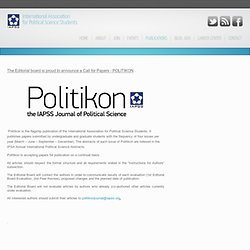 International Association for Political Science Students - Call for Papers