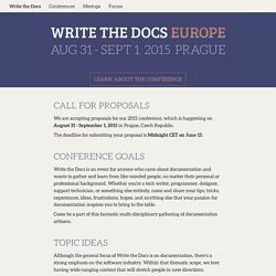 Call for Proposals - Europe 2015 - Write the Docs