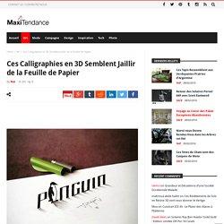 Ces Calligraphies en 3D Semblent Jaillir de la Feuille de Papier