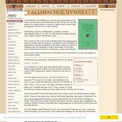CALLIMACHUS, HYMNS 1 - 3