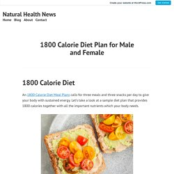 1800 Calorie Diet Plan for Male and Female – Natural Health News