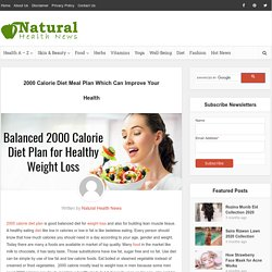 2000 Calorie Diet Meal Plan Which Can Improve Your Health