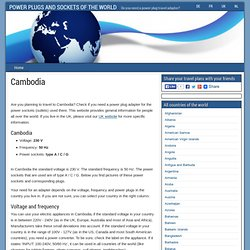 Cambodia: power plug adapter needed? - POWER PLUGS AND SOCKETS OF THE WORLD