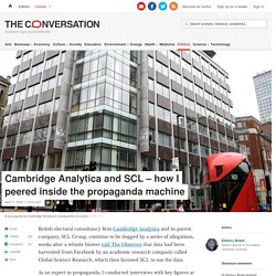 Cambridge Analytica and SCL – how I peered inside the propaganda machine