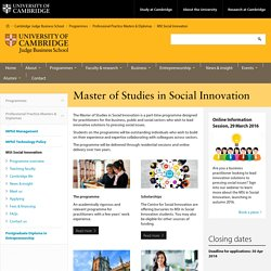Cambridge Judge Business School: Master of Studies in Social Innovation