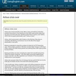 Airbus crisis over - Cambridge ESOL Reading Comprehension Exercise