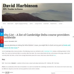 Delta List – A list of Cambridge Delta course providers worldwide