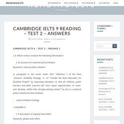 CAMBRIDGE IELTS 9 READING – TEST 2 – ANSWERS - READINGIELTS