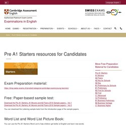 Official Cambridge English A1 Starters resources for Candidates
