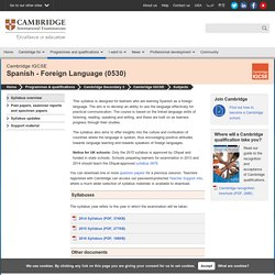 Cambridge IGCSE Spanish - Foreign Language (0530)