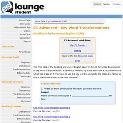 Cambridge English: Advanced (CAE) Key Word Transformations