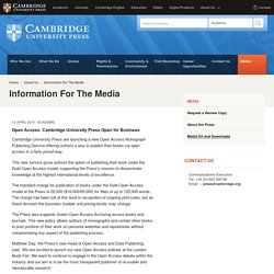 Open Access: Cambridge University Press Open for Business