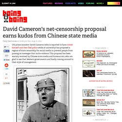 David Cameron's net-censorship proposal earns kudos from Chinese state media